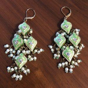 Royal cloisonné enamel earrings w beads